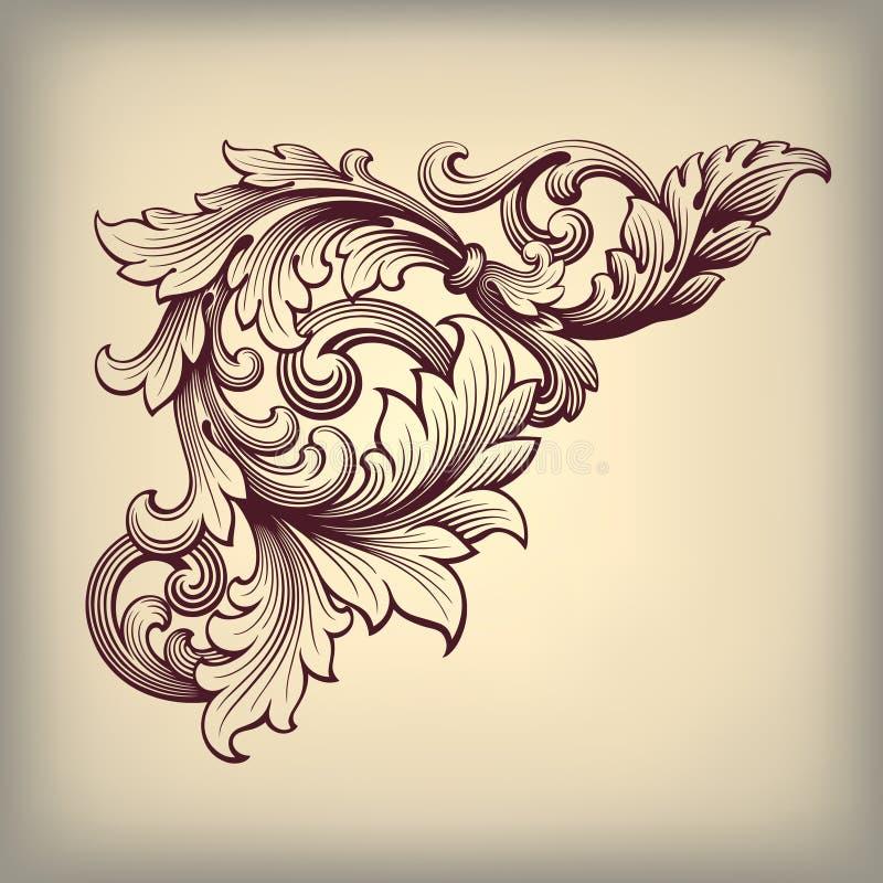 Angolo barrocco d'annata della struttura di vettore decorato royalty illustrazione gratis