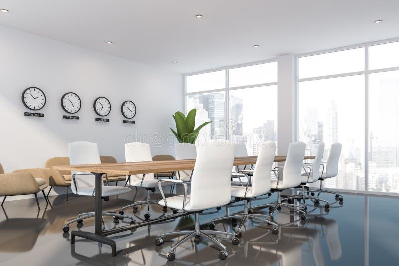 Angolo bianco della sala riunioni con area del salotto royalty illustrazione gratis