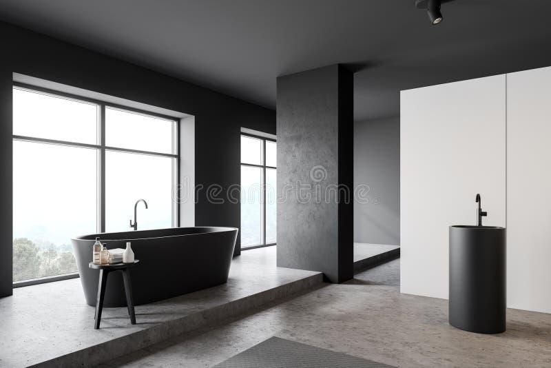 Angolo bianco e grigio del bagno con la vasca illustrazione vettoriale