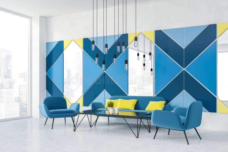 Angolo blu panoramico del caffè con i sofà illustrazione di stock