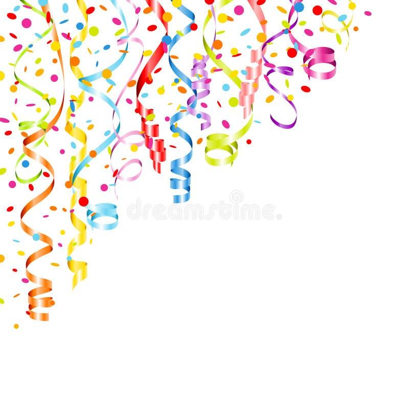 Angolo Con Vari Streamer A Colori E Confetti In Alto A Sinistra illustrazione di stock