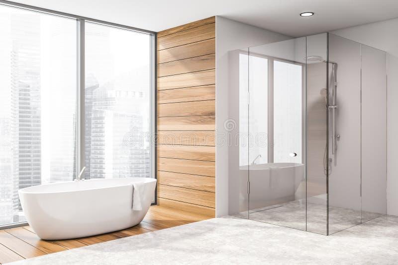 Angolo del bagno con la vasca e la doccia royalty illustrazione gratis