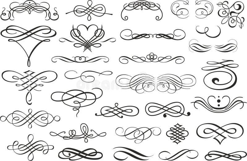 Angolo del confine di Flourish e raccolta degli elementi della struttura Invito della carta di vettore Lerciume vittoriano callig illustrazione vettoriale