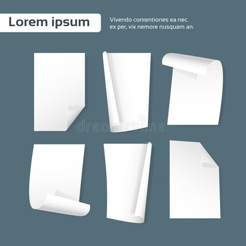 Angolo del ricciolo dello strato della carta in bianco, insieme vuoto della pagina illustrazione di stock