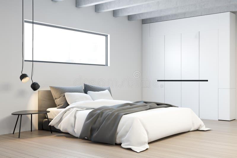 Angolo della camera da letto principale bianca con il guardaroba royalty illustrazione gratis
