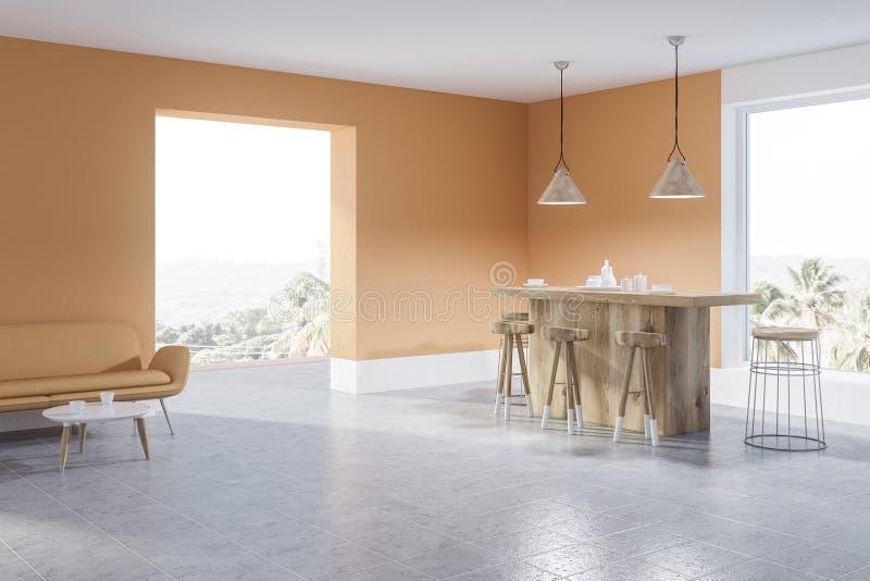 Angolo della cucina, barra e sofà beige e bianchi illustrazione di stock