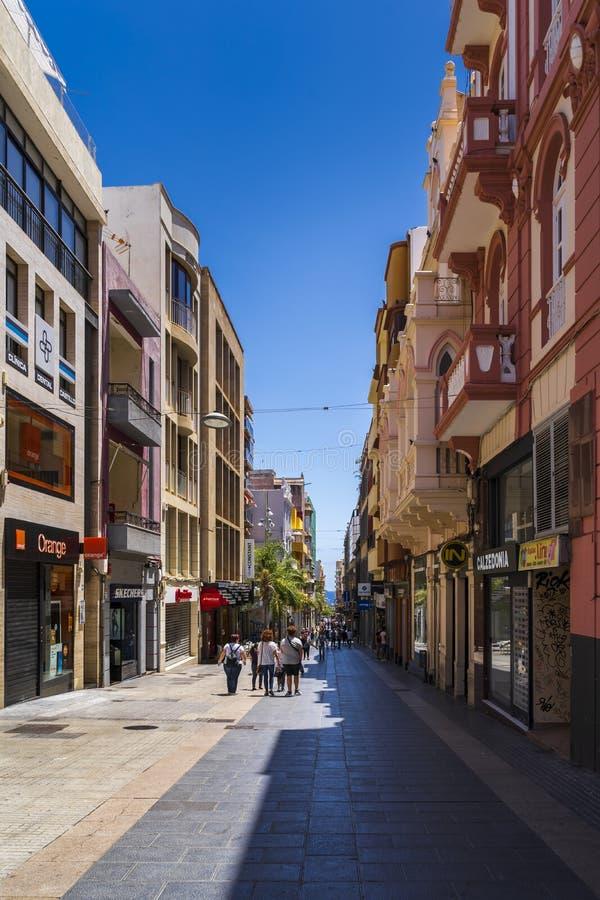 Angolo della via di Robayna della via di Castillio in Santa Cruz de Tenerife immagini stock libere da diritti