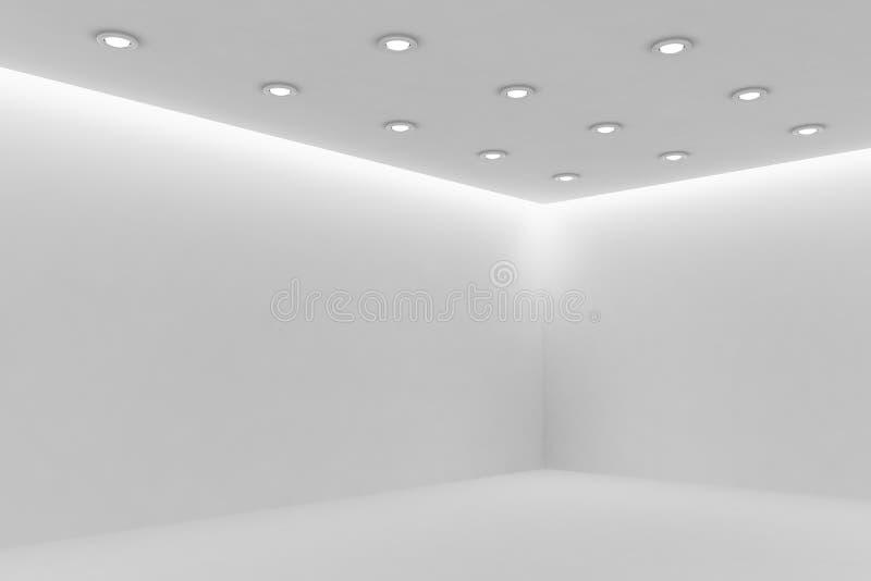 Angolo di stanza bianca mpty con le piccole lampade rotonde del soffitto illustrazione vettoriale
