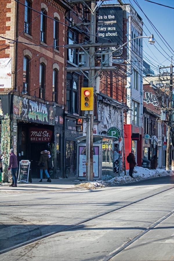 Angolo di strada a Toronto del centro, Ontario, Canada fotografia stock
