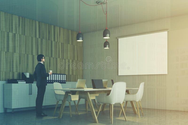 Ufficio Bianco E Legno : Angolo di ufficio bianco e di legno manifesto tonificato
