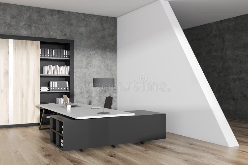Ufficio Pavimento Grigio : Angolo di ufficio grigio del responsabile scaffale illustrazione