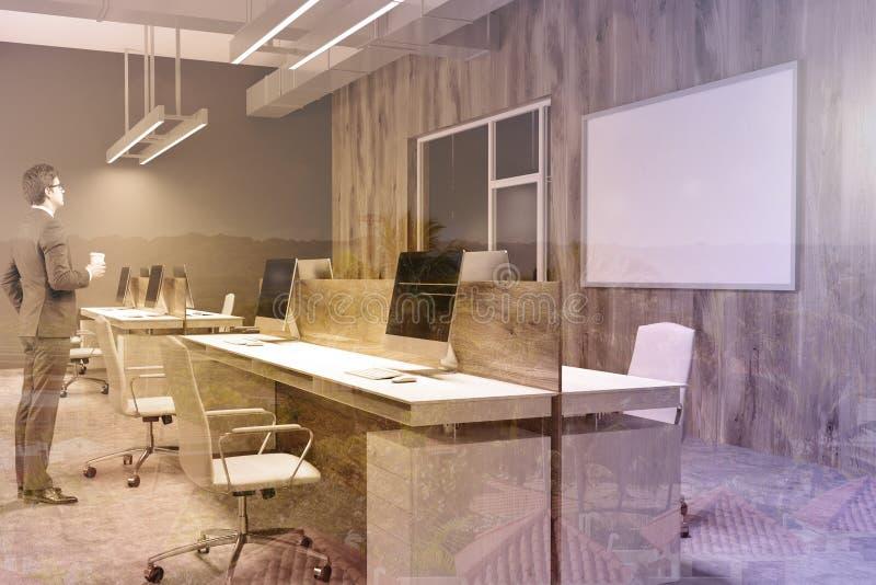 Ufficio Pavimento Grigio : Angolo di ufficio di legno e grigio manifesto uomo immagine