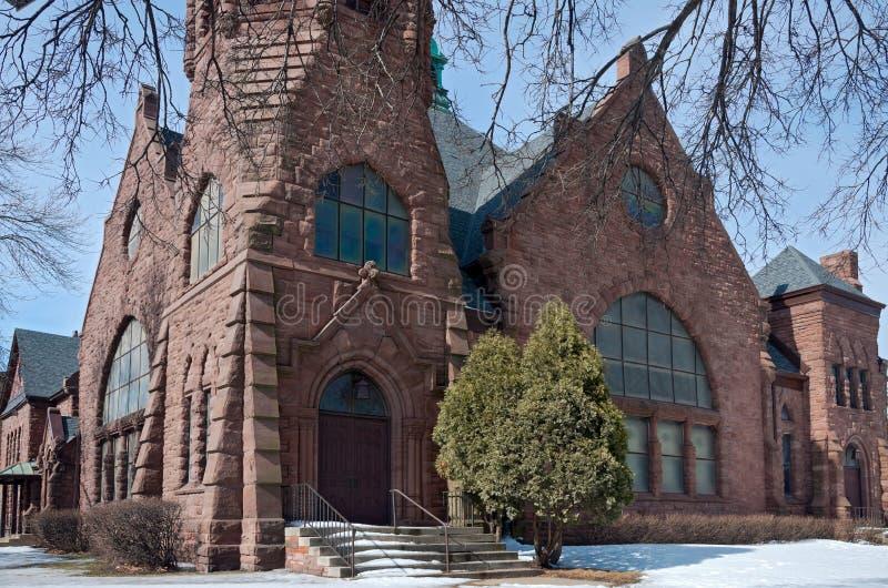 Angolo e facciata della chiesa di Minneapolis del punto di riferimento immagine stock