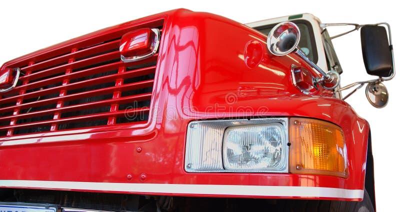 Angolo fronte dell'autopompa antincendio rossa fotografie stock