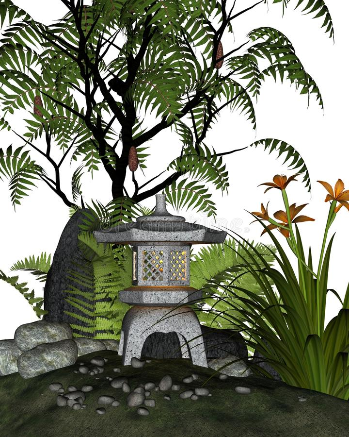 Angolo giapponese del giardino di tè illustrazione vettoriale