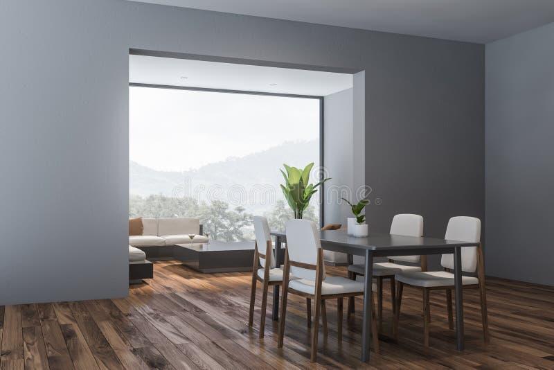 Angolo grigio del salone e della sala da pranzo illustrazione vettoriale