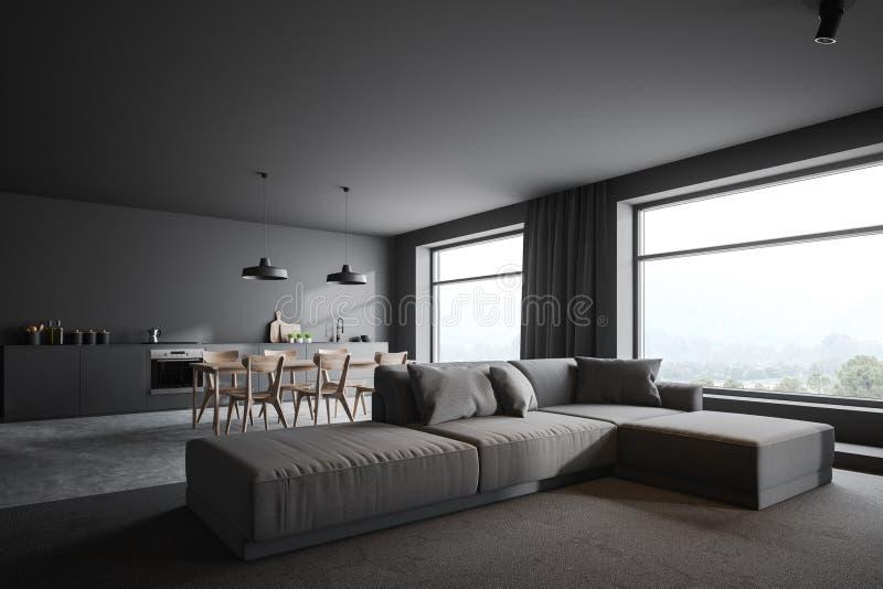 Angolo grigio della cucina e del salone con le finestre illustrazione vettoriale