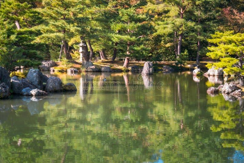 Angolo incantante di Zen Gardens giapponese al padiglione dorato a Kyoto, Giappone fotografie stock libere da diritti