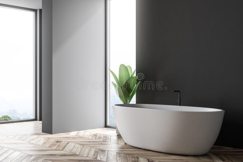 Angolo nero e grigio del bagno, vasca bianca royalty illustrazione gratis