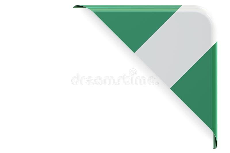 Angolo nigeriano della bandiera, bottone rappresentazione 3d illustrazione di stock