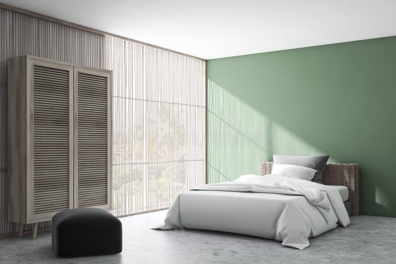 Angolo verde della camera da letto con il guardaroba illustrazione di stock