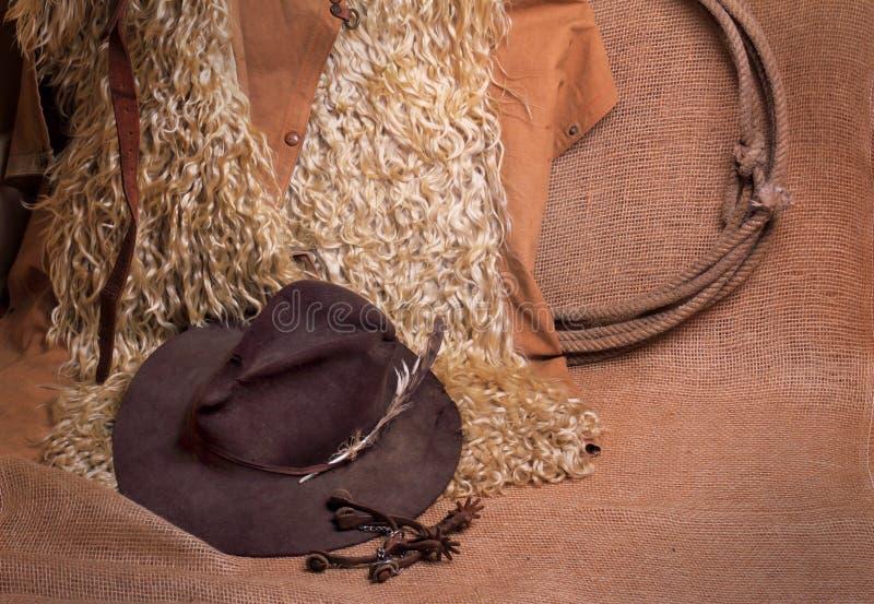 Angoran gör narig, hatten, lasso och sporrar royaltyfria bilder