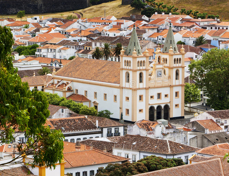 Angra大教堂做Heroismo, Terceira,亚速尔群岛 图库摄影