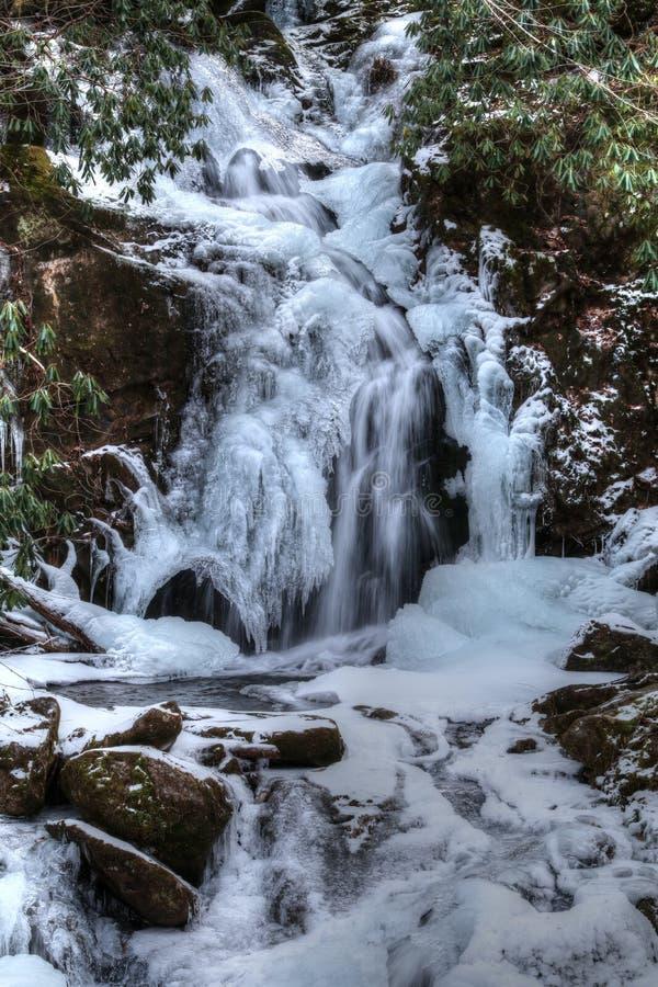 A angra congelada do rato cai no parque nacional de Great Smoky Mountains fotos de stock royalty free