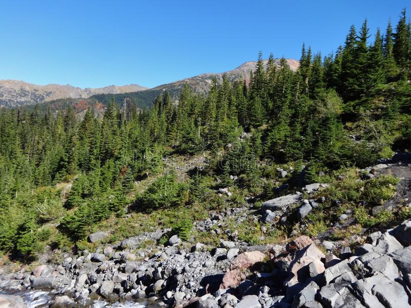 A angra do heliotrópio corre o norte, com uma vista das montanhas imagens de stock