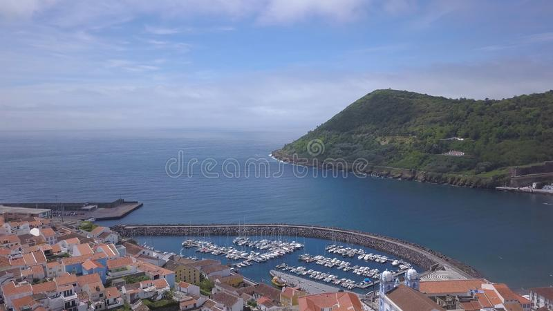 Angra do Heroismo aerial view shot from 4k drone royalty free stock photos