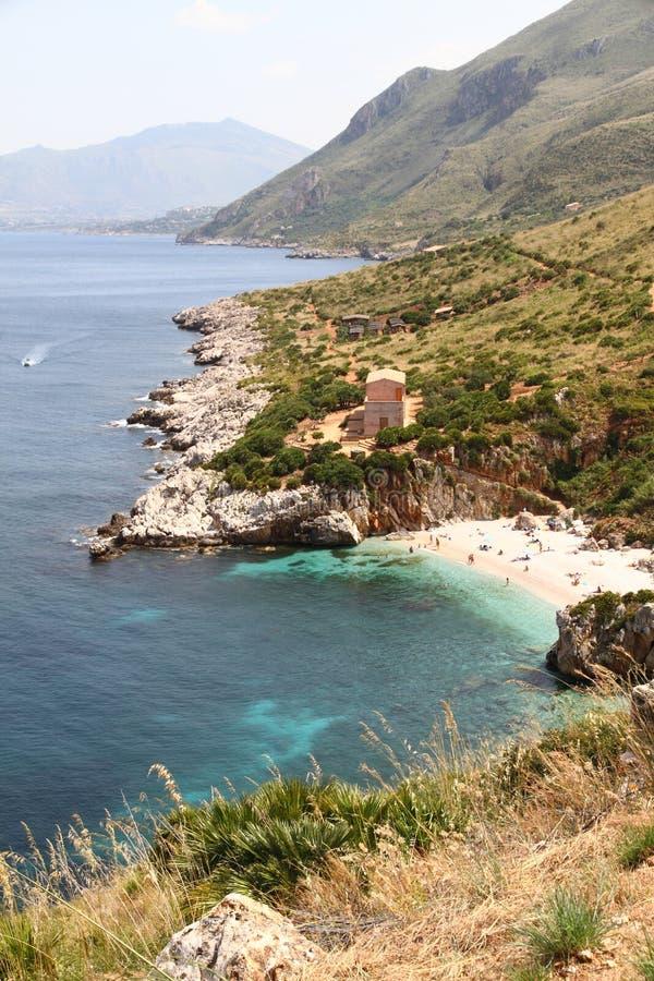 Angra na reserva do zingaro em Sicília imagem de stock