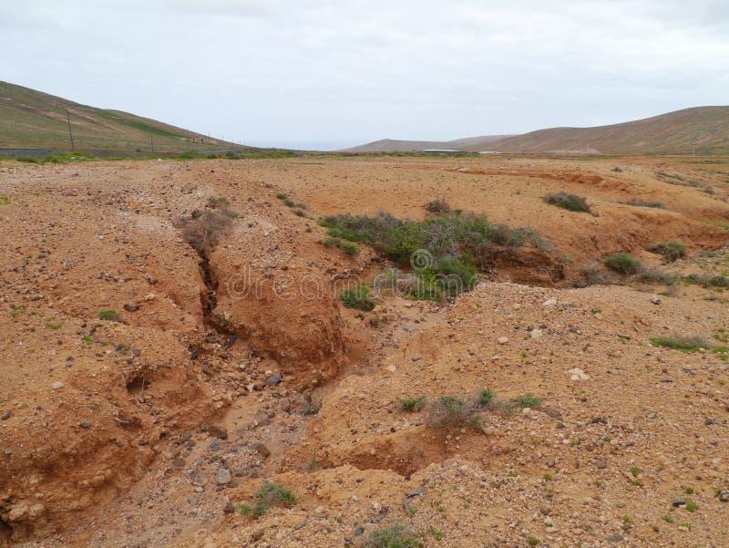 Angras e camas de rio secas perto de La Oliva imagem de stock royalty free