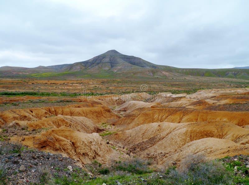 Angras e camas de rio secas perto de La Oliva em Fuerteventura fotos de stock