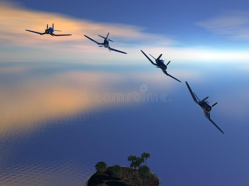 Angreifende Flugzeuge ziehen weg ab lizenzfreie abbildung