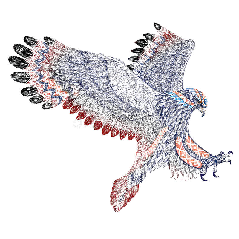 Angreifender Steinadler der Tätowierung mit ethnischen Verzierungen lizenzfreie abbildung