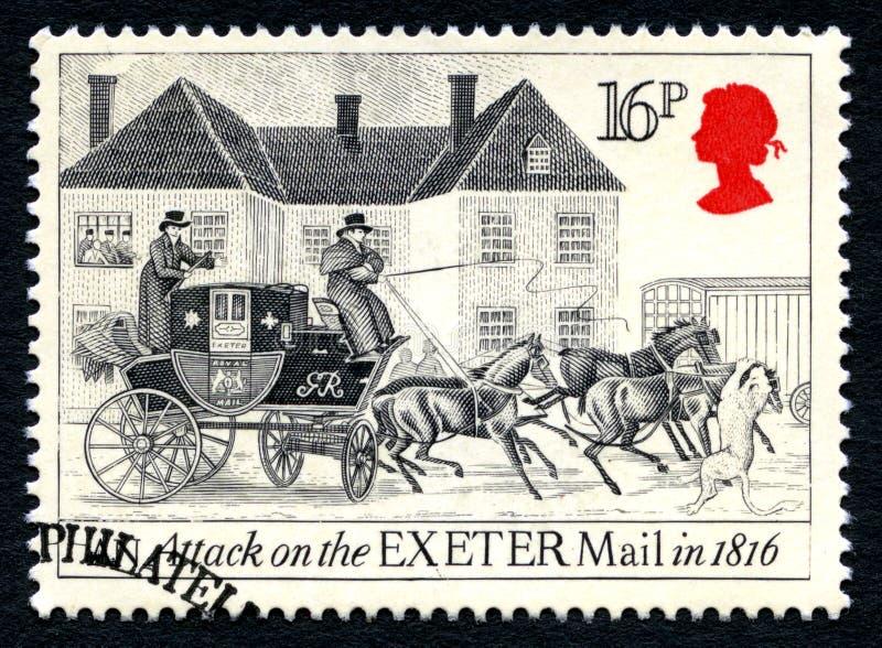 Angriff auf der Exeter-Post-BRITISCHEN Briefmarke stockfotos