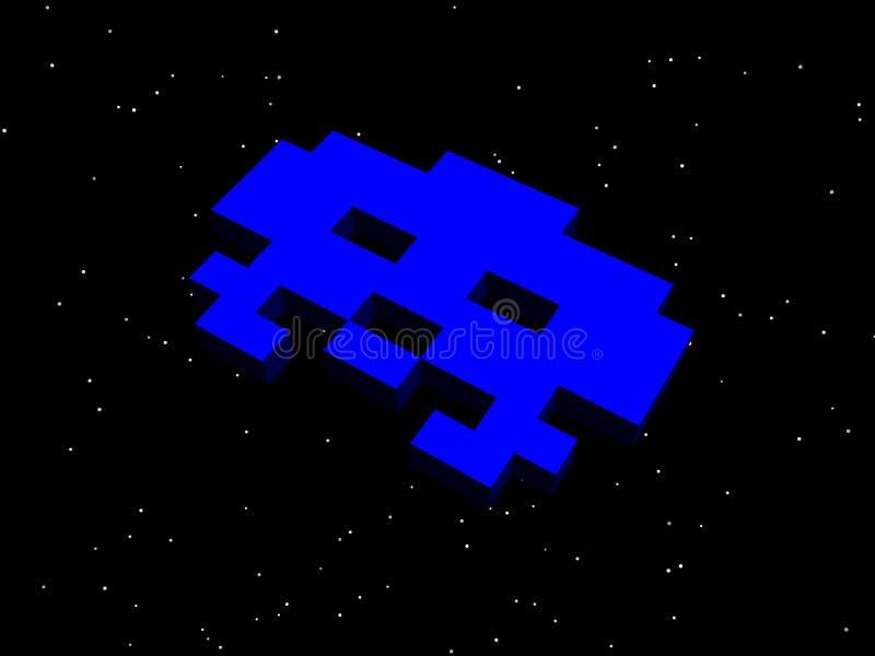 Angripare utrymmeangripare! Blått främmande skepp stock illustrationer