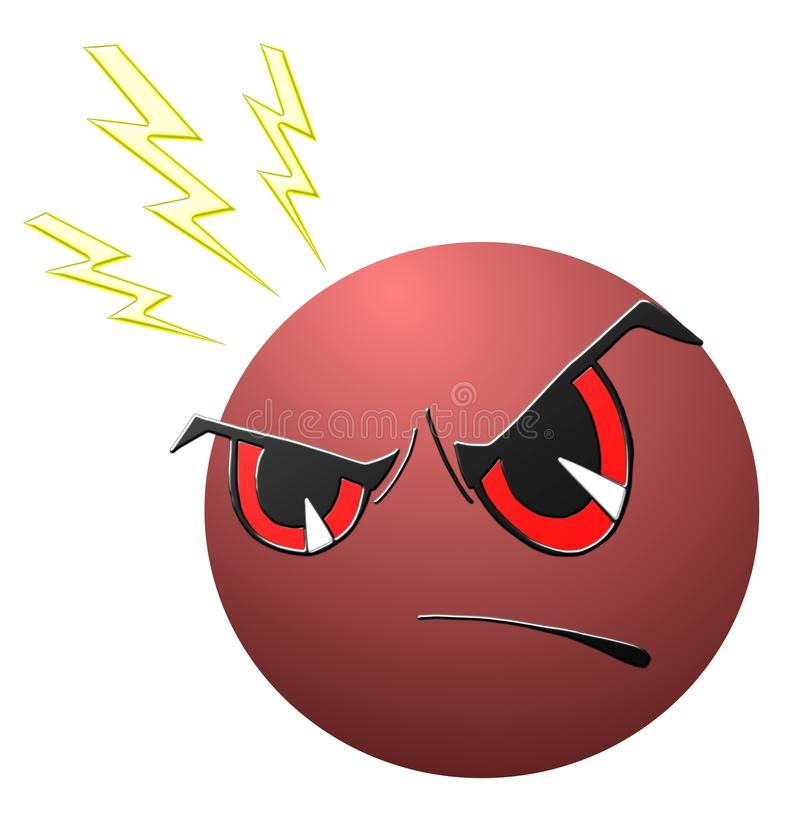 isolated Angry face cartoon in red stock illustration