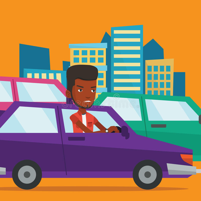 Angry african man in car stuck in traffic jam. Angry african-american car driver stuck in a traffic jam. Irritated young man driving a car in a traffic jam royalty free illustration