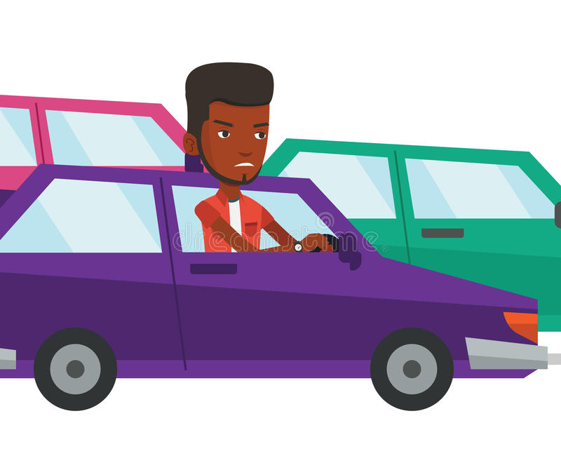 Angry african man in car stuck in traffic jam. Angry african car driver stuck in a traffic jam. Irritated man driving a car in a traffic jam. Agressive driver royalty free illustration