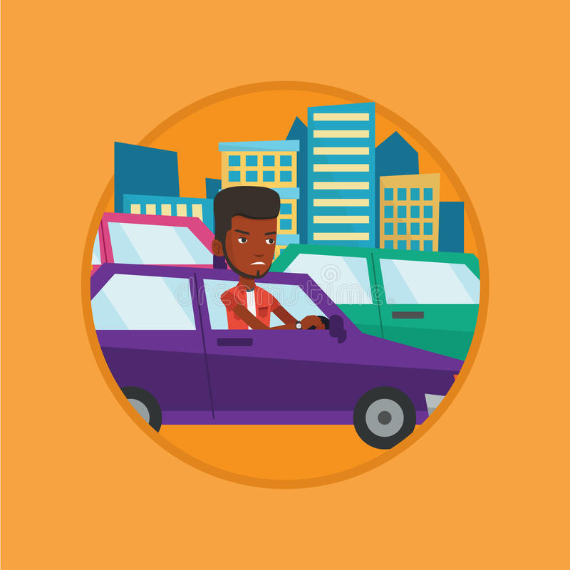 Angry african man in car stuck in traffic jam. Angry car driver stuck in a traffic jam. Irritated man driving a car in a traffic jam. Agressive driver honking royalty free illustration