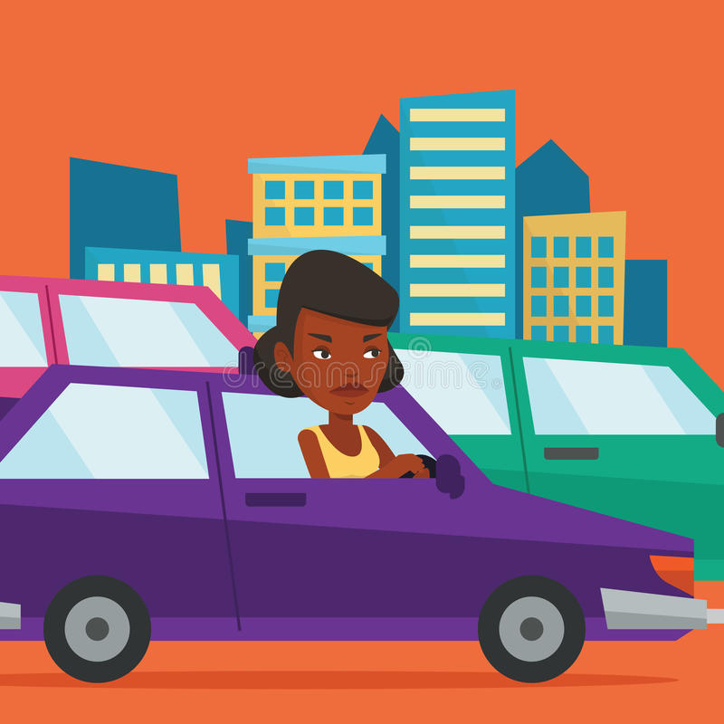 Angry african woman in car stuck in traffic jam. Angry african-american car driver stuck in a traffic jam. Irritated young woman driving a car in a traffic jam royalty free illustration