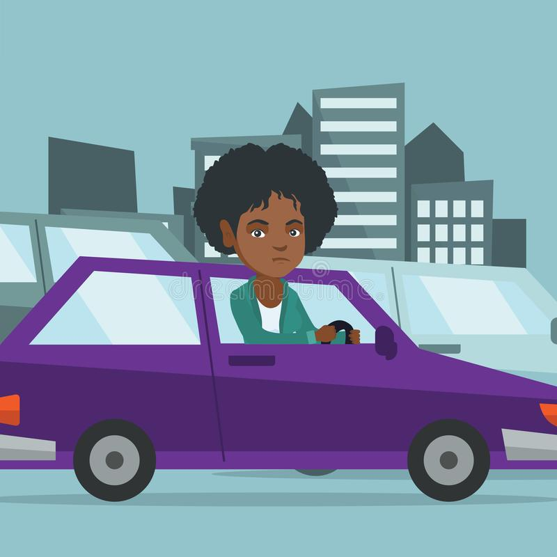 Angry african woman in car stuck in traffic jam. Angry african-american woman in car stuck in a traffic jam. Irritated young woman driving a car in a traffic stock illustration