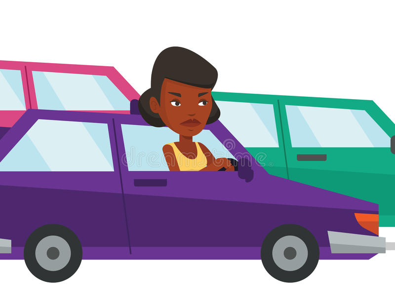 Angry african woman in car stuck in traffic jam. Angry african car driver stuck in a traffic jam. Irritated woman driving a car in a traffic jam. Aggressive vector illustration