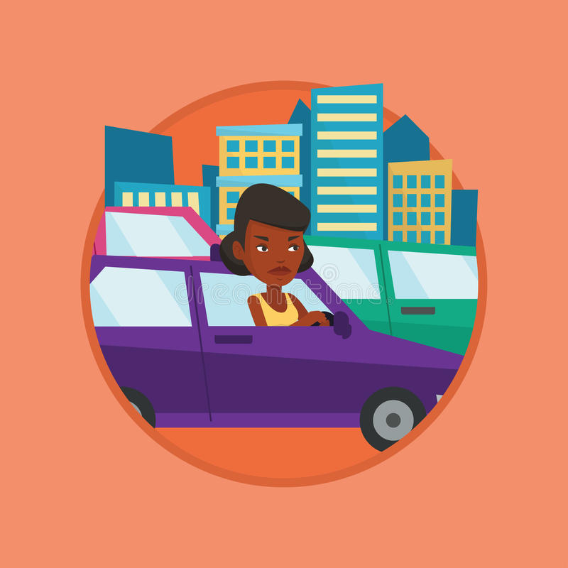 Angry african woman in car stuck in traffic jam. Angry car driver stuck in a traffic jam. Irritated woman driving a car in a traffic jam. Agressive driver vector illustration