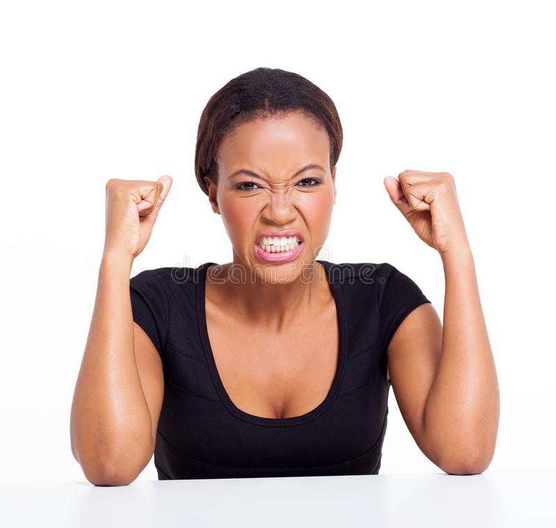 Angry african woman royalty free stock photos