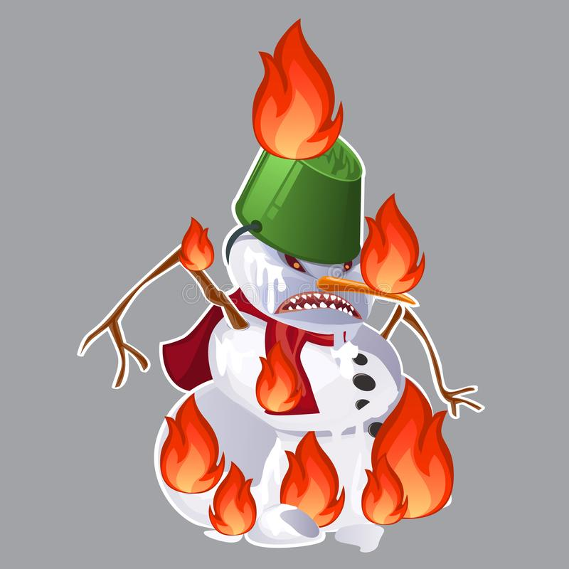 Angry aggressive toothy snowman is burning in the fire isolated on grey background. Vector cartoon close-up illustration royalty free illustration