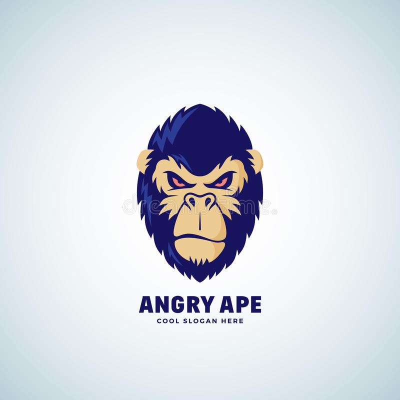 Angry Ape Abstract Vector Sign, Emblem or Logo Template. Monkey Face Symbol. Gorilla Head Silhouette. Good as a Sport royalty free illustration