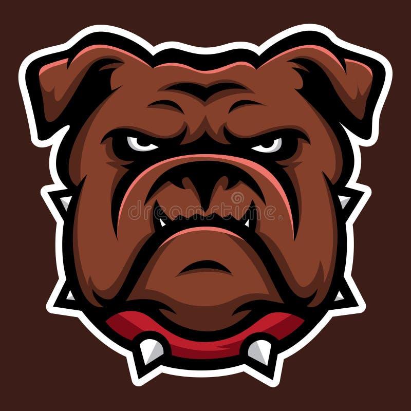 Bulldog red Annimal head logo mascot icon vector stock illustration