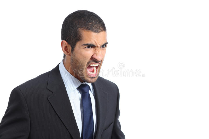 Angry arab business man shouting. Isolated on a white background royalty free stock image